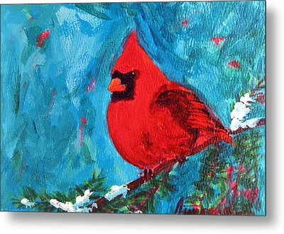 Cardinal Red Bird Watercolor Modern Art Metal Print by Patricia Awapara