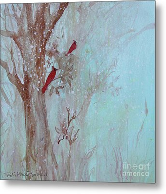 Metal Print featuring the painting Cardinals In Trees Whilst Snowing by Robin Maria Pedrero