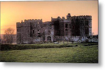 Carew Castle Coral Sunset Metal Print