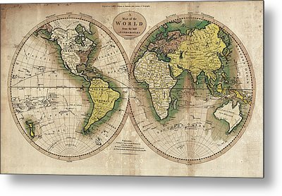 Metal Print featuring the photograph Carey's Map Of The World  1795 by Daniel Hagerman
