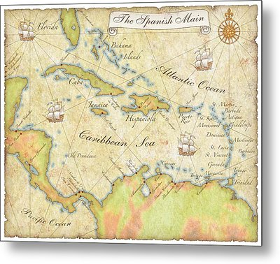 Caribbean Map - Good Metal Print by Sample