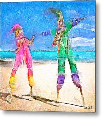 Caribbean Scenes - Moko Jumbie Metal Print