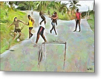 Caribbean Scenes - Small Goal In De Street Metal Print