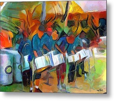 Caribbean Scenes - Steel Band Practice Metal Print