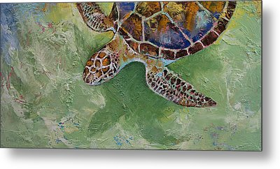 Caribbean Sea Turtle Metal Print by Michael Creese