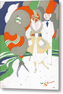 Caricature Of Flappers Wearing Furs Metal Print by Ralph Barton