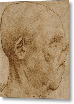 Caricature Of The Head Of An Old Man, In Profile To The Right Metal Print