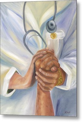 Caring A Tradition Of Nursing Metal Print by Marlyn Boyd