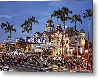 Carlsbad Village Sign Lighting Metal Print