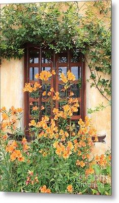 Carmel Mission Window Metal Print by Carol Groenen