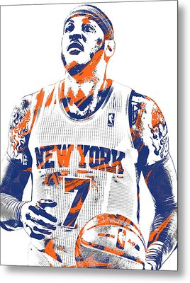 Carmelo Anthony New York Knicks Pixel Art 2 Metal Print by Joe Hamilton
