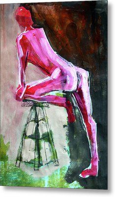 Metal Print featuring the painting Carmine Figure No. 3 by Nancy Merkle
