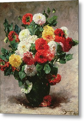 Carnations In A Vase Metal Print by Georges Jeannin