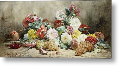 Carnations, Roses, Grapes And Peaches Metal Print by Georges Jeannin