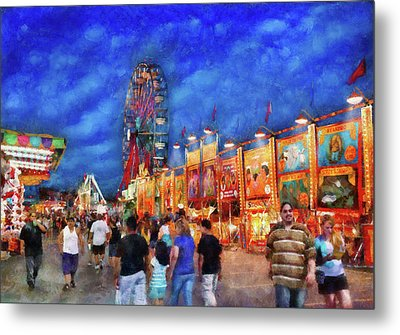 Carnival - The Carnival At Night Metal Print by Mike Savad