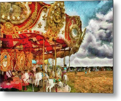 Carnival - The Merry-go-round Metal Print by Mike Savad