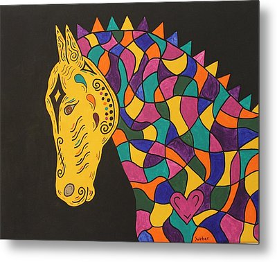 Carnival Stained Glass Tribal Horse Metal Print by Susie WEBER