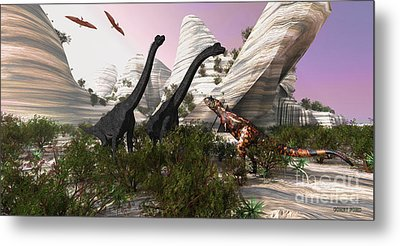 Carnotaurus Attack Metal Print by Corey Ford