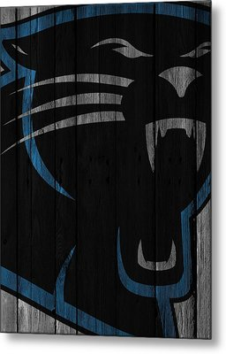 Caroilina Panthers Wood Fence Metal Print