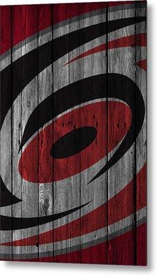 Carolina Hurricanes Wood Fence Metal Print