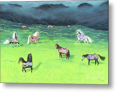 Metal Print featuring the painting Carousel Horse Retirement by Cindy Lee Longhini