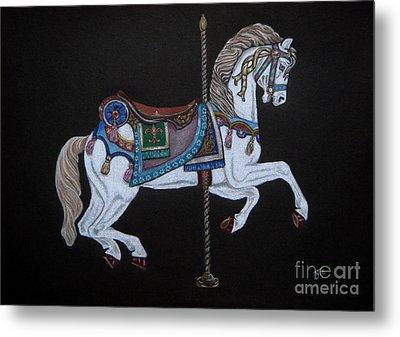 Carousel Horse Metal Print by Yvonne Johnstone