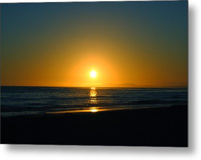 Carpinteria State Beach At Sunset Metal Print by Bransen Devey