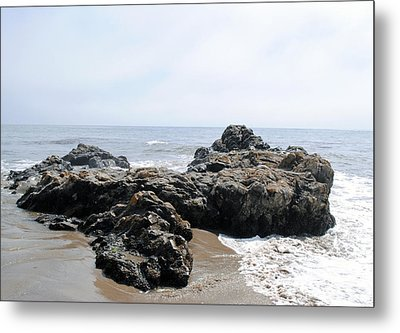 Carpinteria State Beach Rocks Metal Print by Bransen Devey