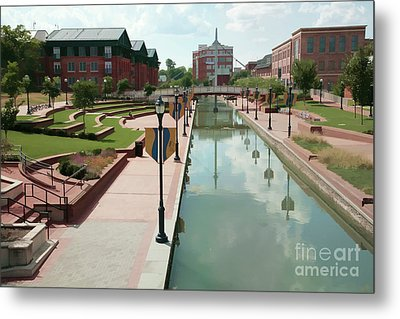 Carroll Creek Park In Frederick Maryland With Watercolor Effect Metal Print
