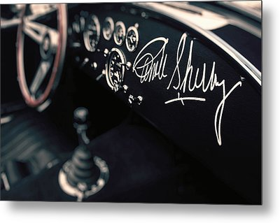 Carroll Shelby Signed Dashboard Metal Print by Paul Bartell