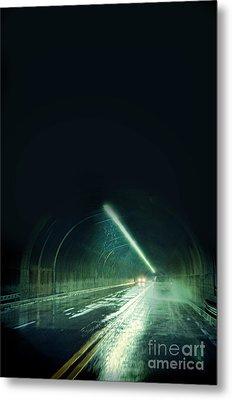 Cars In A Dark Tunnel Metal Print by Jill Battaglia