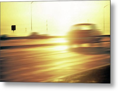 Cars On Freeway 3 - Evening Commute Metal Print by Steve Ohlsen