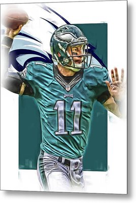 Carson Wentz Philadelphia Eagles Oil Art Metal Print by Joe Hamilton