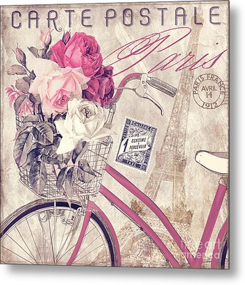 Carte Postale Bicycle Metal Print by Mindy Sommers