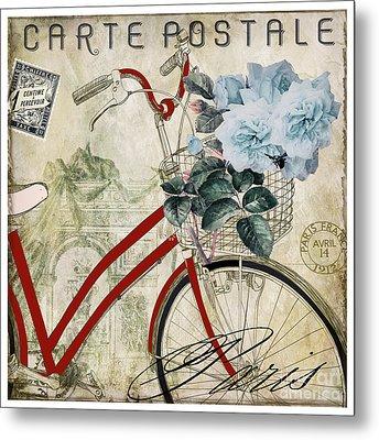 Carte Postale Vintage Bicycle Metal Print by Mindy Sommers