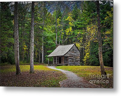Carter Shields Cabin In Cades Cove Tn Great Smoky Mountains Landscape Metal Print by T Lowry Wilson