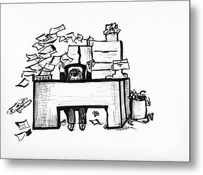 Cartoon Desk Metal Print