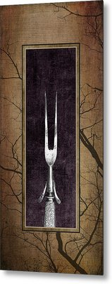 Carving Set Fork Triptych 1 Metal Print