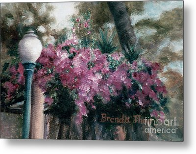 Metal Print featuring the painting Cascading Flowers by Brenda Thour