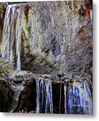 Cascading Water Solarized Metal Print by DigiArt Diaries by Vicky B Fuller