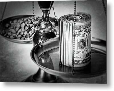 Cash Versus Gold Metal Print by Tom Mc Nemar
