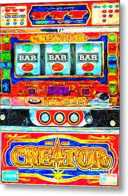 Casino Slot Machine . One Arm Bandit . Triple Bar Bonus Jack Pot Metal Print by Wingsdomain Art and Photography