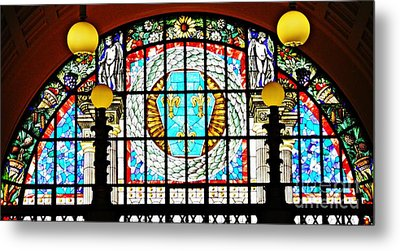 Casino Stained Glass Metal Print by Sarah Loft