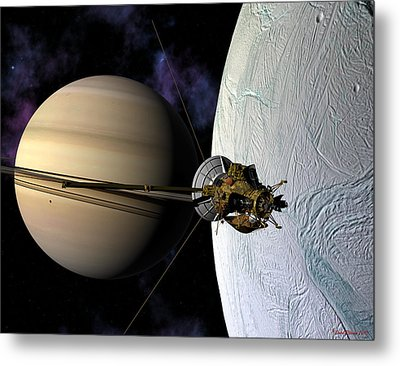 Cassini Passing Enceladus  Metal Print by David Robinson