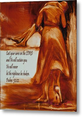Cast Your Cares On The Lord - Psalm 52 22 Metal Print by Jani Freimann