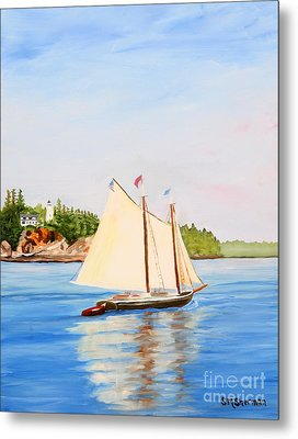 Castine Harbor And Dice Head Light Metal Print by Stella Sherman