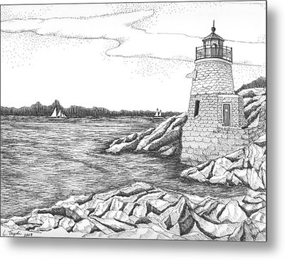 Castle Hill Lighthouse Metal Print by Lawrence Tripoli