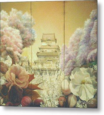 Castle Himeji - Sakura Metal Print by Sorin Apostolescu