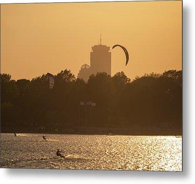 Castle Island Kite Boarded Boston Ma Sunset Prudential Metal Print