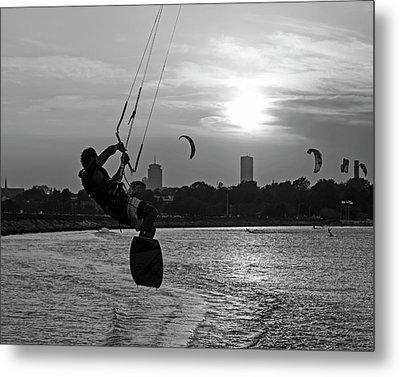 Castle Island Kite Boarder Boston Ma Sunset Black And White Metal Print